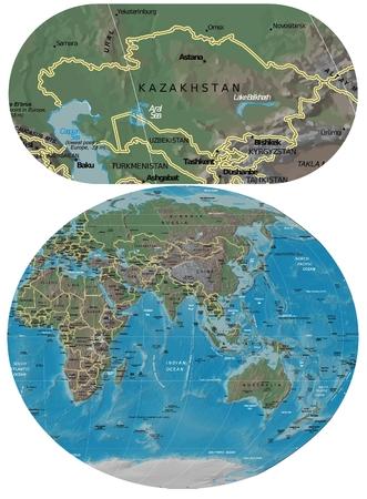 Kazakhstan and Asia Oceania map Stock Photo