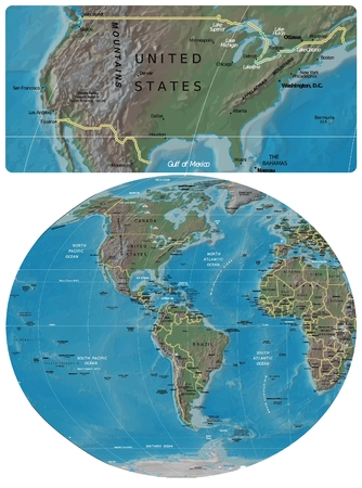 United States and The Americas map