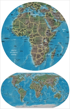 counties: Africa and World map