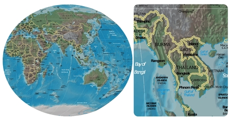historic world event: Burma Myanmar Thailand Laos Cambodia Vietnam and Asia Oceania map