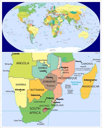 Zuid-Afrika en Wereld Stockfoto