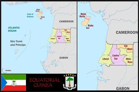 Administratieve divisies van Equatoriaal-Guinea Stockfoto - 74464714