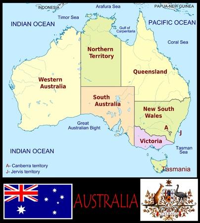 Australische administratieve afdelingen Stockfoto