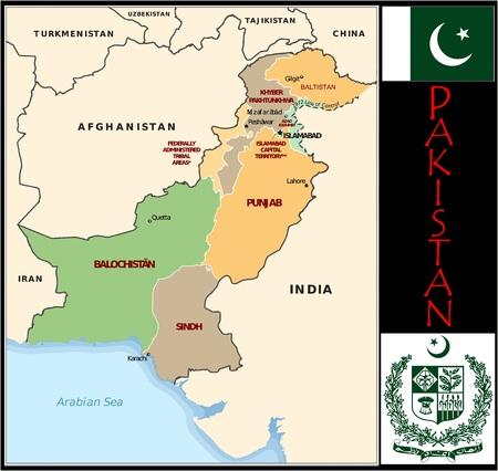 Pakistan administratieve afdelingen Stockfoto