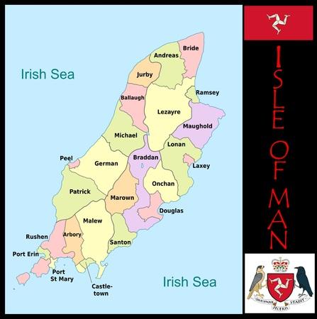 Administratieve afdelingen Isle of Man Stockfoto - 75059968