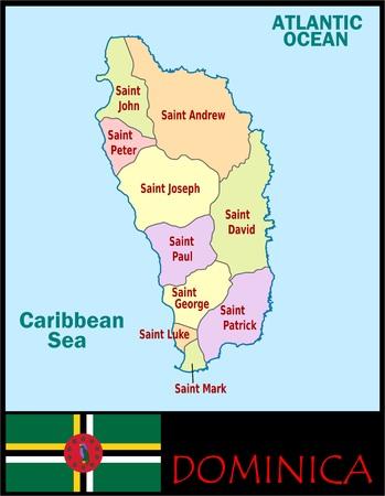Dominica administratieve afdelingen Stockfoto