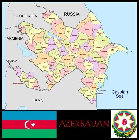 Administratieve afdelingen van Azerbeidzjan Stockfoto