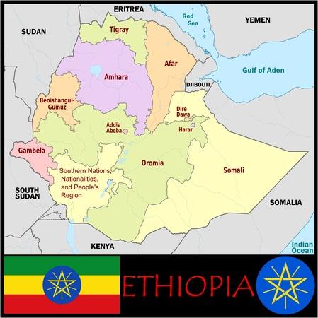 Ethiopische administratieve afdelingen Stockfoto