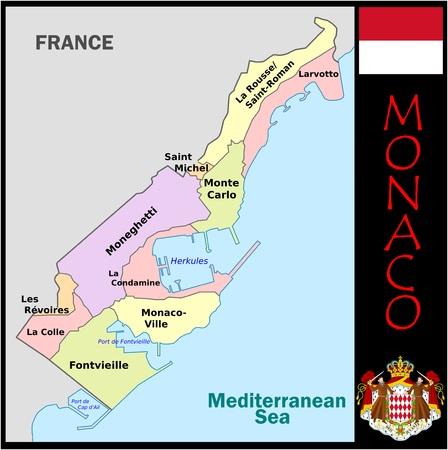 Monaco administratieve afdelingen Stockfoto