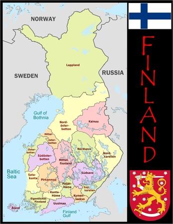 Administratieve afdelingen in Finland Stockfoto