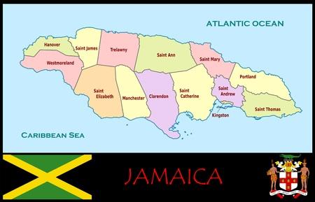 Jamaica administratieve afdelingen Stockfoto - 74464733
