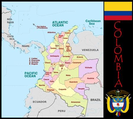Colombia administratieve afdelingen Stockfoto - 74032566