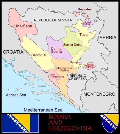 Bosnië en Herzegovina administratieve afdelingen