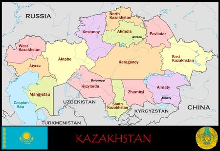 Kazachstan administratieve afdelingen Stockfoto - 75242029
