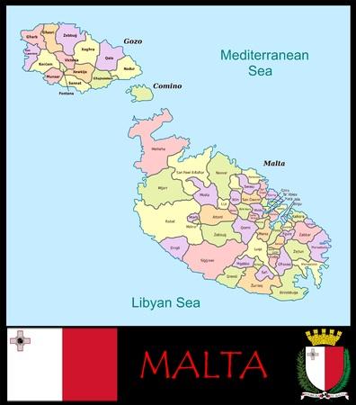 Administratieve afdelingen in Malta Stockfoto