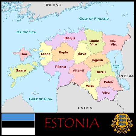 Administratieve afdelingen in Estland Stockfoto