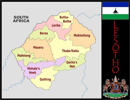 Lesotho administrative divisions Zdjęcie Seryjne