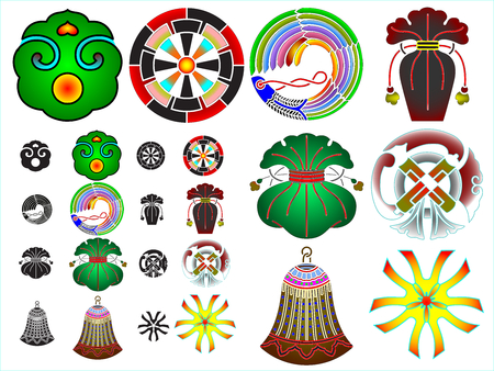 Traditional japanese family crests kamon emblems