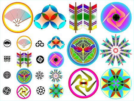 Traditional japanese family crests kamon emblems Stockfoto - 118565953