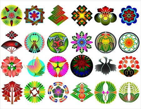 Traditional japanese family crests kamon emblems Stockfoto - 118565954