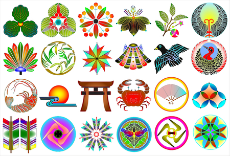 Traditional japanese family crests kamon emblems Stockfoto - 118565957
