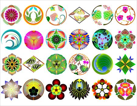 Traditional japanese family crests kamon emblems Stockfoto - 118565961