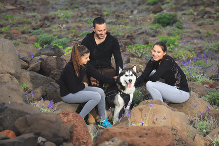 Excited parents with teen girl chilling on rocky coastline stroking Husky.  Stock Photo