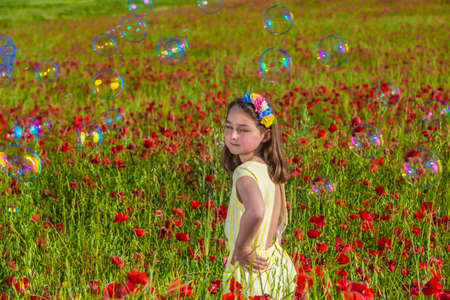 Side view of charming little girl in dress and floral wreath looking at camera while standing amidst red blooming poopy flowers in summer field with soap bubbles Banque d'images