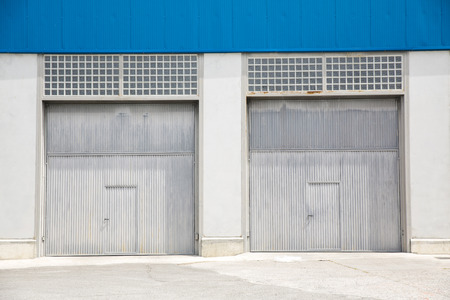 Shutter door, outside of factory. photo