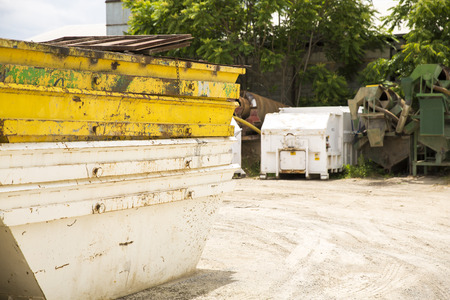 A skip on construction site Stock Photo