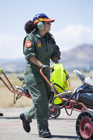 GRANADA,SPAIN - May 18: Aerobatic Spanish helicopter patrol (ASPA Patrol) perform at airshow (10º Aanniversary of Aspa Patrol in Granada) on May 18, 2014 in Granada ,Spain