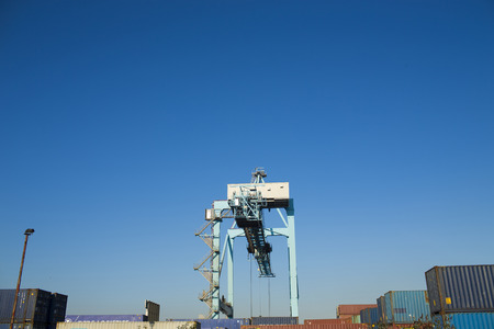 freeport: Commercial harbor with large industrial cranes
