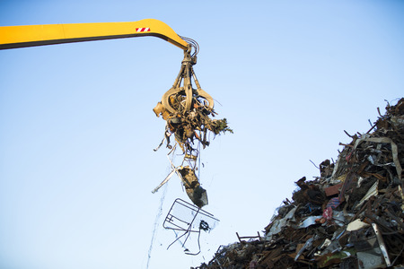 dismantled: Close-up of a crane for recycling metallic waste