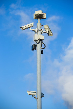 CCTV security camera in a port Standard-Bild