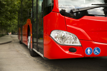 Adapted a bus to transport disabled persons Standard-Bild