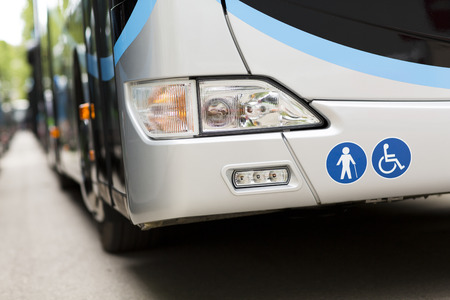 parking station: Adapted a bus to transport disabled persons Stock Photo
