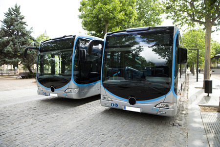New modern city bus Standard-Bild