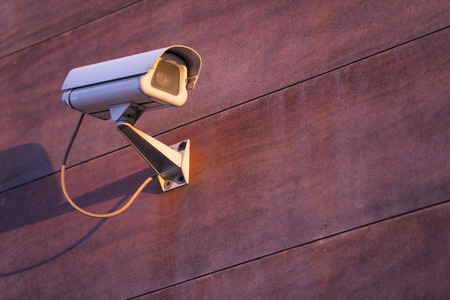guarding: Camera system guarding, office building in horizontal format Stock Photo