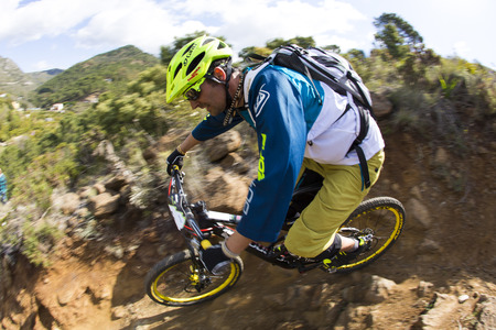 MALAGA, ESPAÃ'A - MARCH 30: Unknown racer on the competition of the mountain bike