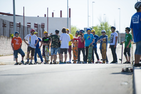 longboard: CORDOBA, SPAIN - APRIL 14: Unknown racer on the competition of the long board 1ª Competition Longboard & Slalom city of Cordoba on Arpil 14, 2013 in Cordoba, Spain
