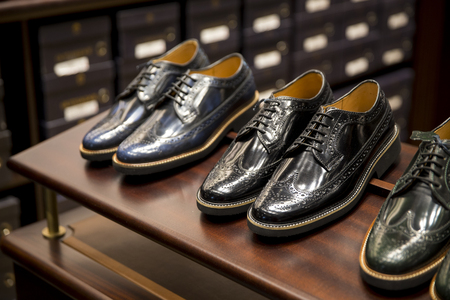 Elegant shoes in a man clothing store Standard-Bild