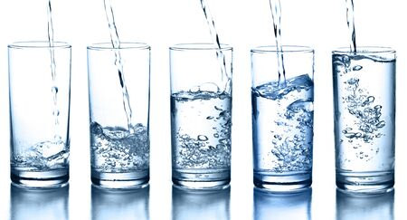 transparent glass of splash water