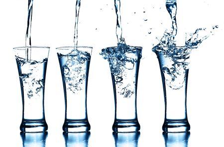 transparent glass of splash water Standard-Bild