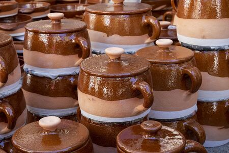 typical clay pots from the Spanish area of Pereruela, (Zamora) Stock Photo