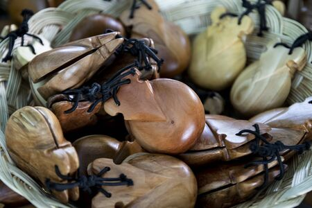 Spanish wooden castanets - percussion instrument used in flamenco, sevillanas in Spain Stock Photo