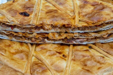 Octopus galician pie traditional food from north Spain