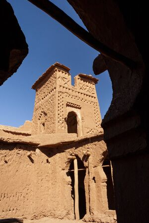 Detall, Kasbah of clay Ait Ben Haddou in Morocco
