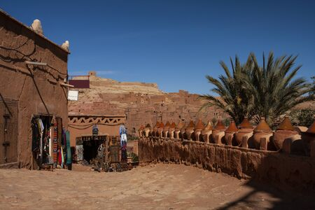 Street markets on the way to the fortified Aït Benhaddou, Morocco