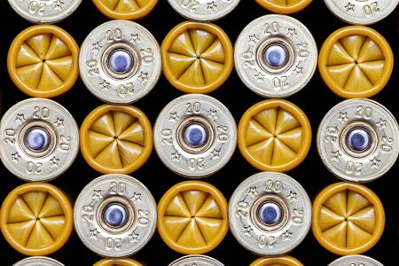 Close-up of 20 gauge shotgun cartridges used for hunting