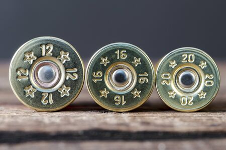 Selective targeting of 12,16 and 20-gauge shotgun cartridges used for hunting, on a wooden table Stock Photo
